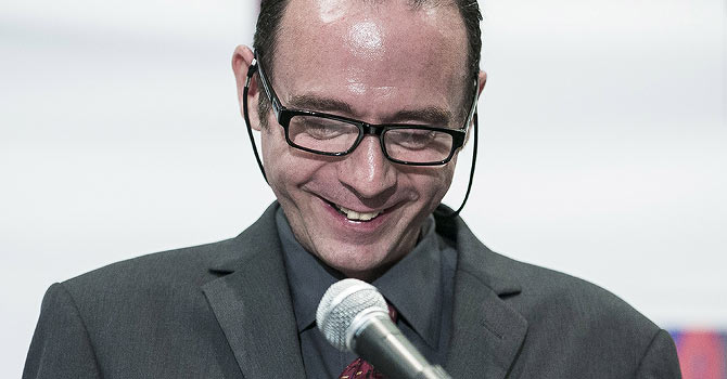 """Timothy Ray Brown, known as the """"Berlin Patient"""" and the only person to have been cured of AIDS, holds a press conference to announce the launch of the ... - timothy-ray-brown-670"""