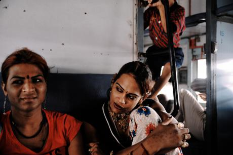 Hijras in a train in Rajasthan in 2012. Giannis Papanikos/Demotix.