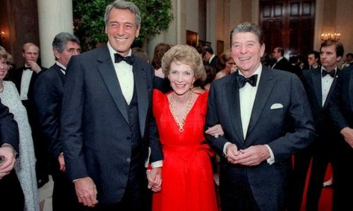 President Reagan and his wife Nancy with Rock Hudson (left) at the White House in 1984, a year before he died. Photograph: Courtesy Everett Collection/Rex