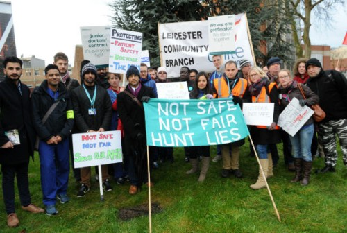 Junior doctors on picket line at Leicester Royal Infirmary