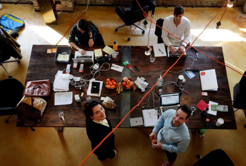 NURX co-founders Hans Gangeskar, lower left, and A. Edvard Engesaeth work at their San Francisco, Calif., startup Tuesday morning, Jan. 26 , 2016. The company offers on-demand birth control delivery. (Karl Mondon/Bay Area News Group)